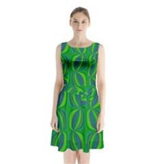 Blue Green Ethnic Print Pattern Sleeveless Chiffon Waist Tie Dress