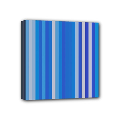 Color Stripes Blue White Pattern Mini Canvas 4  X 4  by Simbadda