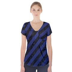 Stripes3 Black Marble & Blue Leather Short Sleeve Front Detail Top by trendistuff