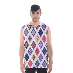 Plaid Triangle Sign Color Rainbow Men s Basketball Tank Top by Alisyart