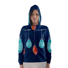 Easter Egg Balloon Pink Blue Red Orange Hooded Wind Breaker (women) by Alisyart