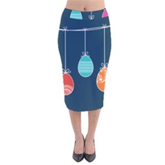 Easter Egg Balloon Pink Blue Red Orange Velvet Midi Pencil Skirt by Alisyart