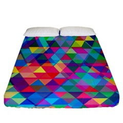 Colorful Abstract Triangle Shapes Background Fitted Sheet (california King Size) by TastefulDesigns