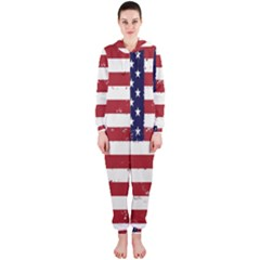 Flag United States United States Of America Stripes Red White Hooded Jumpsuit (ladies)