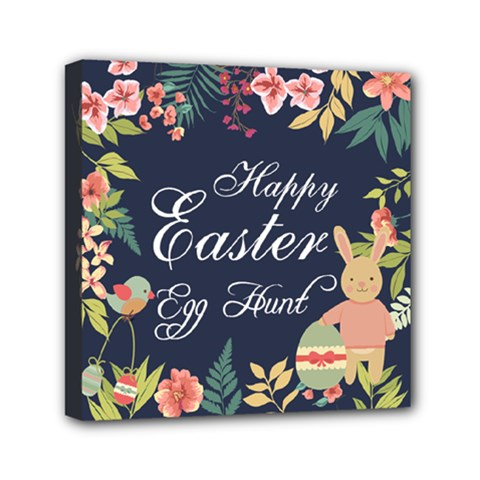Happy Easter Egg Hunt Flower Mini Canvas 6  x 6  (Framed) by makeunique