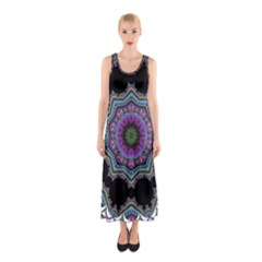 Fractal Lace Sleeveless Maxi Dress