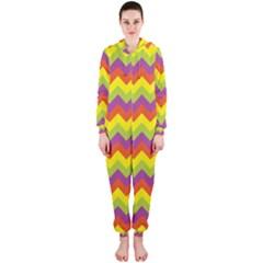 Colorful Zigzag Stripes Background Hooded Jumpsuit (Ladies)