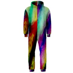 Abstract Colorful Paint Splats Hooded Jumpsuit (Men)