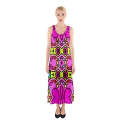 Love Hearths Colourful Abstract Background Design Sleeveless Maxi Dress