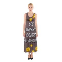 Scary Sweet Funny Cute Pumpkins Hallowen Ecard Sleeveless Maxi Dress