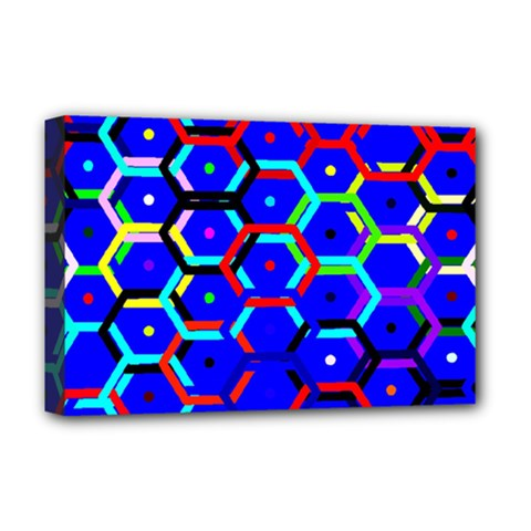 Blue Bee Hive Pattern Deluxe Canvas 18  X 12   by Amaryn4rt