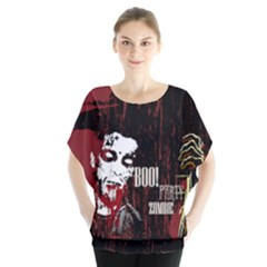 Zombie Ghost Batwing Chiffon Blouse by PattyVilleDesigns