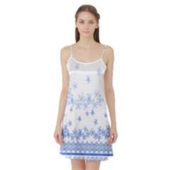 Blue And White Floral Background Satin Night Slip by Amaryn4rt