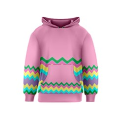 Easter Chevron Pattern Stripes Kids  Pullover Hoodie by Amaryn4rt
