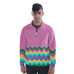 Easter Chevron Pattern Stripes Wind Breaker (men) by Amaryn4rt