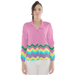 Easter Chevron Pattern Stripes Wind Breaker (Women) by Amaryn4rt