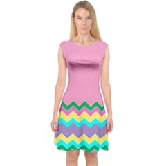 Easter Chevron Pattern Stripes Capsleeve Midi Dress by Amaryn4rt