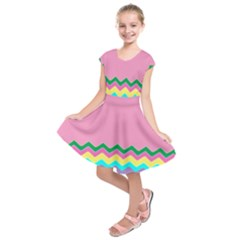 Easter Chevron Pattern Stripes Kids  Short Sleeve Dress by Amaryn4rt