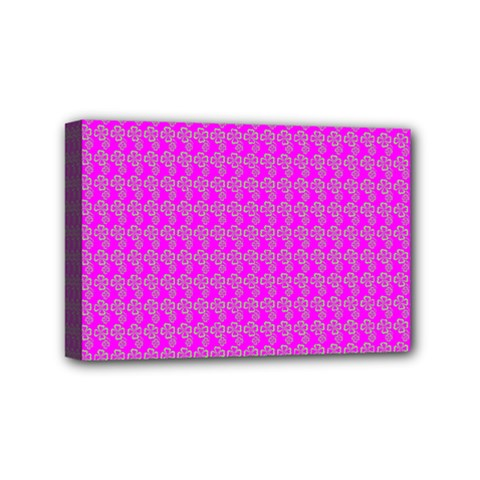 Clovers On Pink Mini Canvas 6  X 4  by PhotoNOLA