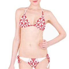 Red Pattern Filigree Snowflake On White Bikini Set