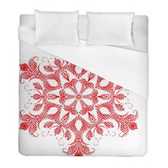 Red Pattern Filigree Snowflake On White Duvet Cover (full/ Double Size) by Amaryn4rt