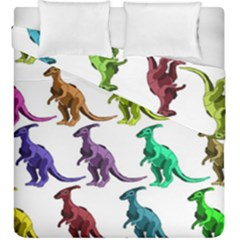 Multicolor Dinosaur Background Duvet Cover Double Side (king Size) by Amaryn4rt