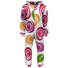 Colorful Seamless Floral Flowers Pattern Wallpaper Background Hooded Jumpsuit (ladies)