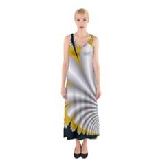 Fractal Gold Palm Tree On Black Background Sleeveless Maxi Dress