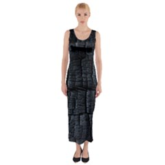 Black Burnt Wood Texture Fitted Maxi Dress