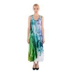 Colour Smoke Rainbow Color Design Sleeveless Maxi Dress