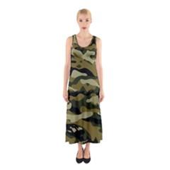 Military Vector Pattern Texture Sleeveless Maxi Dress