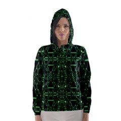 An Overly Large Geometric Representation Of A Circuit Board Hooded Wind Breaker (Women) by Simbadda