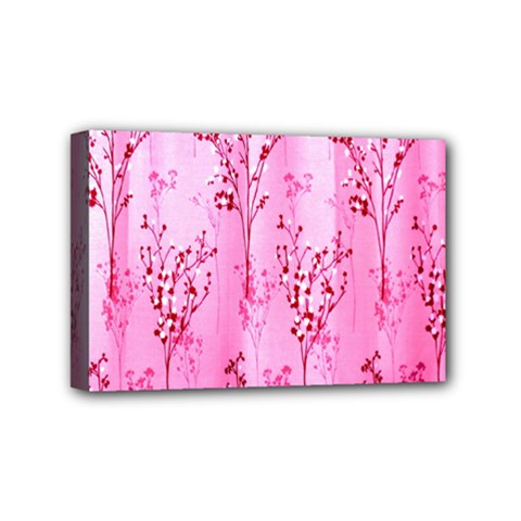 Pink Curtains Background Mini Canvas 6  X 4  by Simbadda