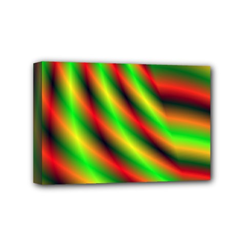 Neon Color Fractal Lines Mini Canvas 6  X 4  by Simbadda