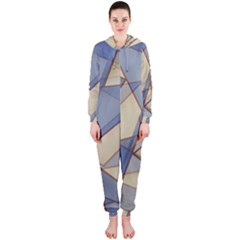 Blue And Tan Triangles Intertwine Together To Create An Abstract Background Hooded Jumpsuit (ladies)