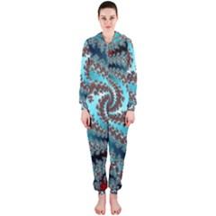 Digital Fractal Pattern Hooded Jumpsuit (ladies)