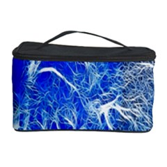 Winter Blue Moon Fractal Forest Background Cosmetic Storage Case by Simbadda