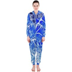 Winter Blue Moon Fractal Forest Background Hooded Jumpsuit (Ladies)