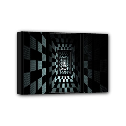 Optical Illusion Square Abstract Geometry Mini Canvas 6  X 4  by Simbadda