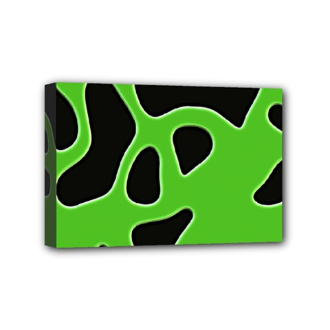 Black Green Abstract Shapes A Completely Seamless Tile Able Background Mini Canvas 6  X 4  by Simbadda