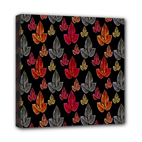 Leaves Pattern Background Mini Canvas 8  X 8  by Simbadda