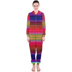Fiestal Stripe Bright Colorful Neon Stripes Background Hooded Jumpsuit (ladies)