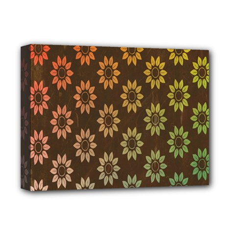 Grunge Brown Flower Background Pattern Deluxe Canvas 16  X 12   by Simbadda