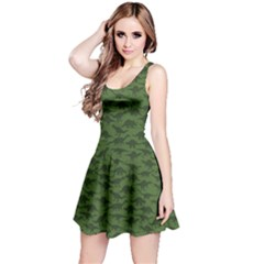 Green A Pattern With Dinosaur Silhouettes Sleeveless Dress by CoolDesigns