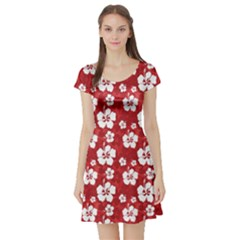 Red Pattern With Hibiscus Flowers On Red  Short Sleeve Skater Dress