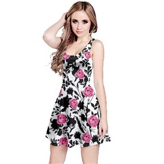 Black&pink Floral Sleeveless Skater Dress
