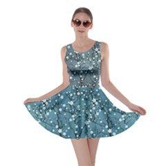 Blue Japanese Cherry Blossom Tree Pattern Skater Dress by CoolDesigns