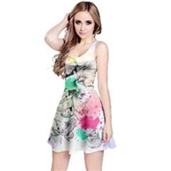 Colorful3 Floral Sleeveless Skater Dress