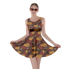 Brown African Ethnic Colorful Pattern Skater Dress by CoolDesigns