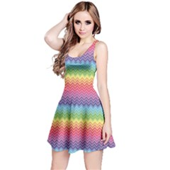 Colorful Chevron Rainbow Colored Pattern Sleeveless Skater Dress